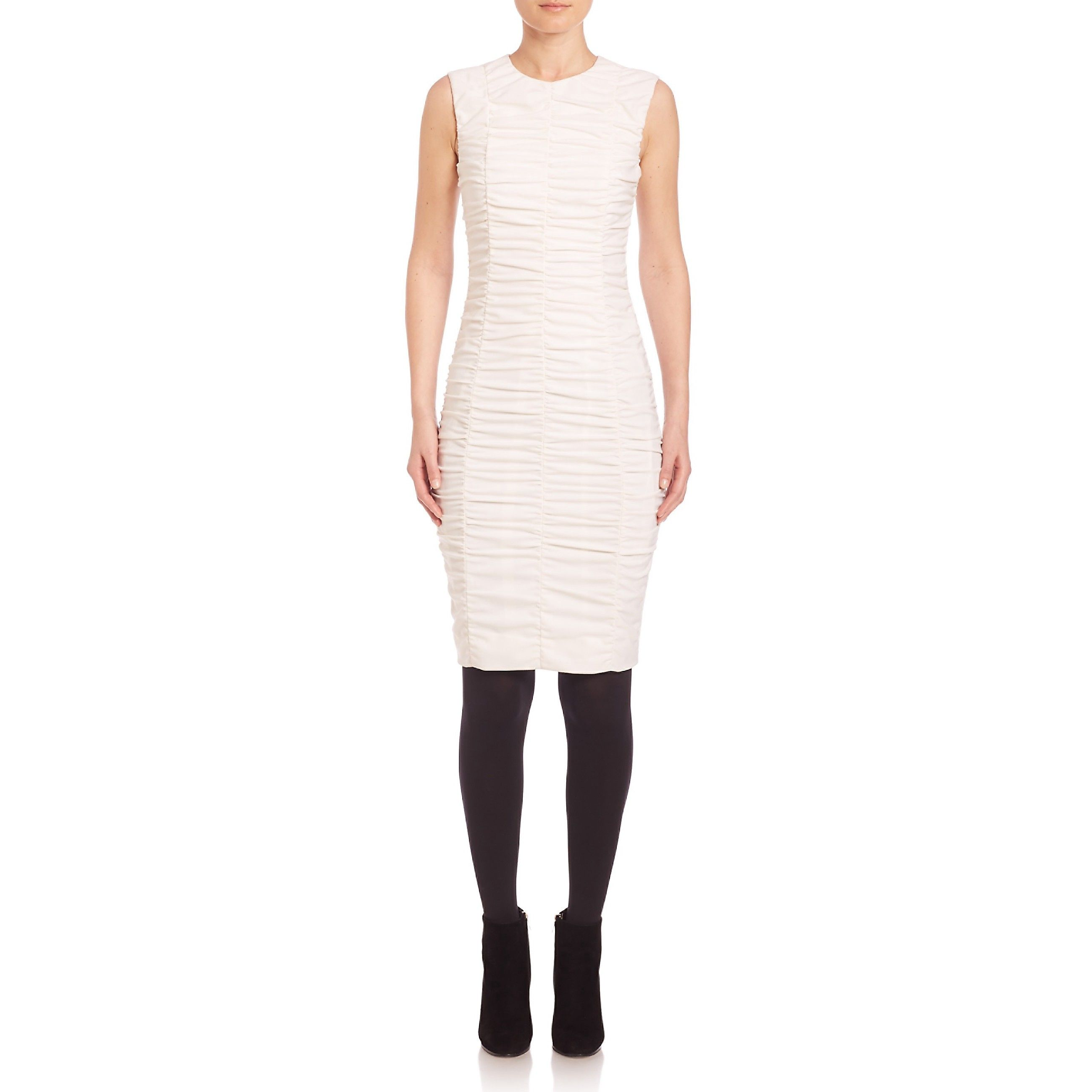 0d4816e84f81d7 AKRIS PUNTO Sleeveless Ruched-Front Dress.  akrispunto  cloth