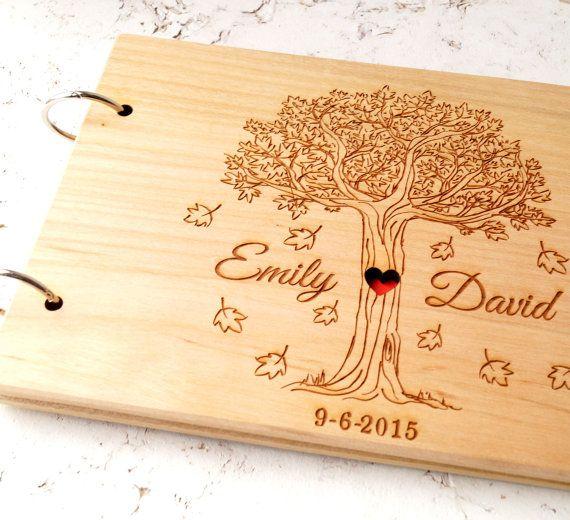 custom wood wedding guest book  album laser engraved