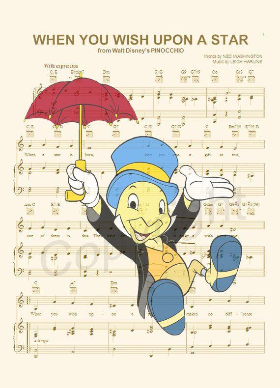 Pinocchio Jiminy Cricket Sheet Music Art Print by AmourPrints ...