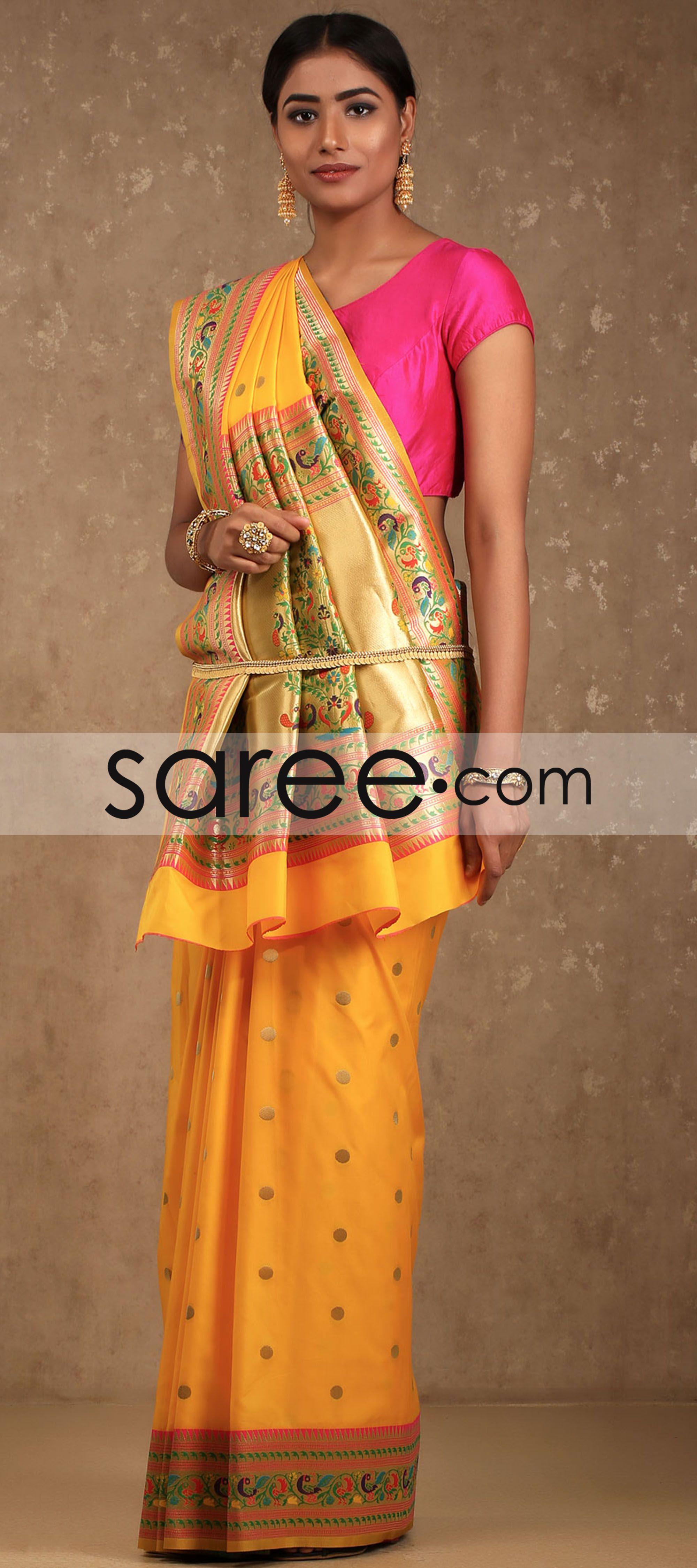 Yellow silk saree yellow samo silk saree with zari by asopalav  vinita  pinterest