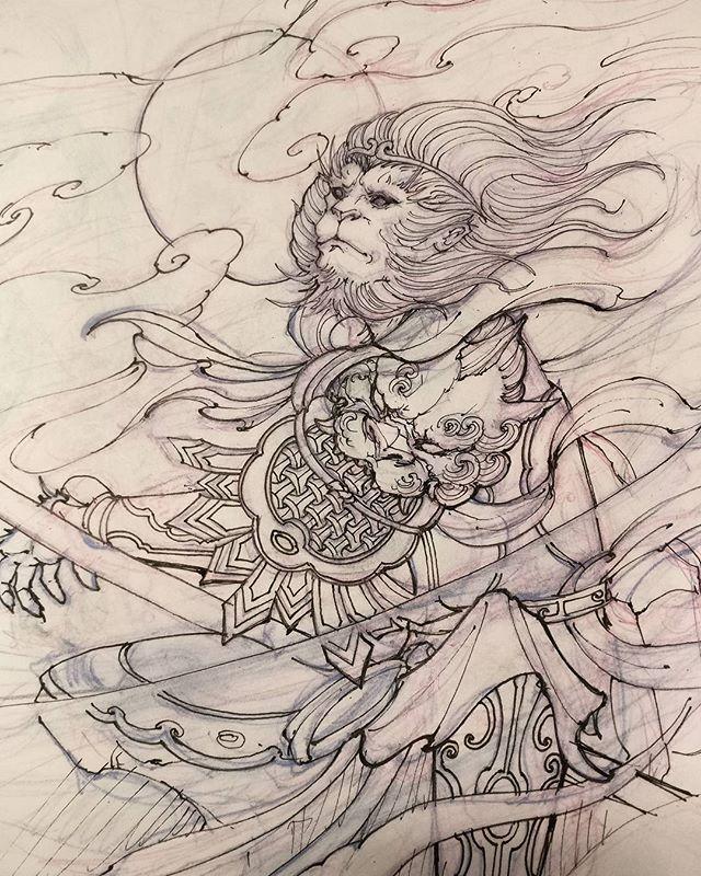 David Hoang On Instagram Back To Back Tiger Tattoo: Monkey King Sketch. #sketch #drawing #monkeyking #irezumi