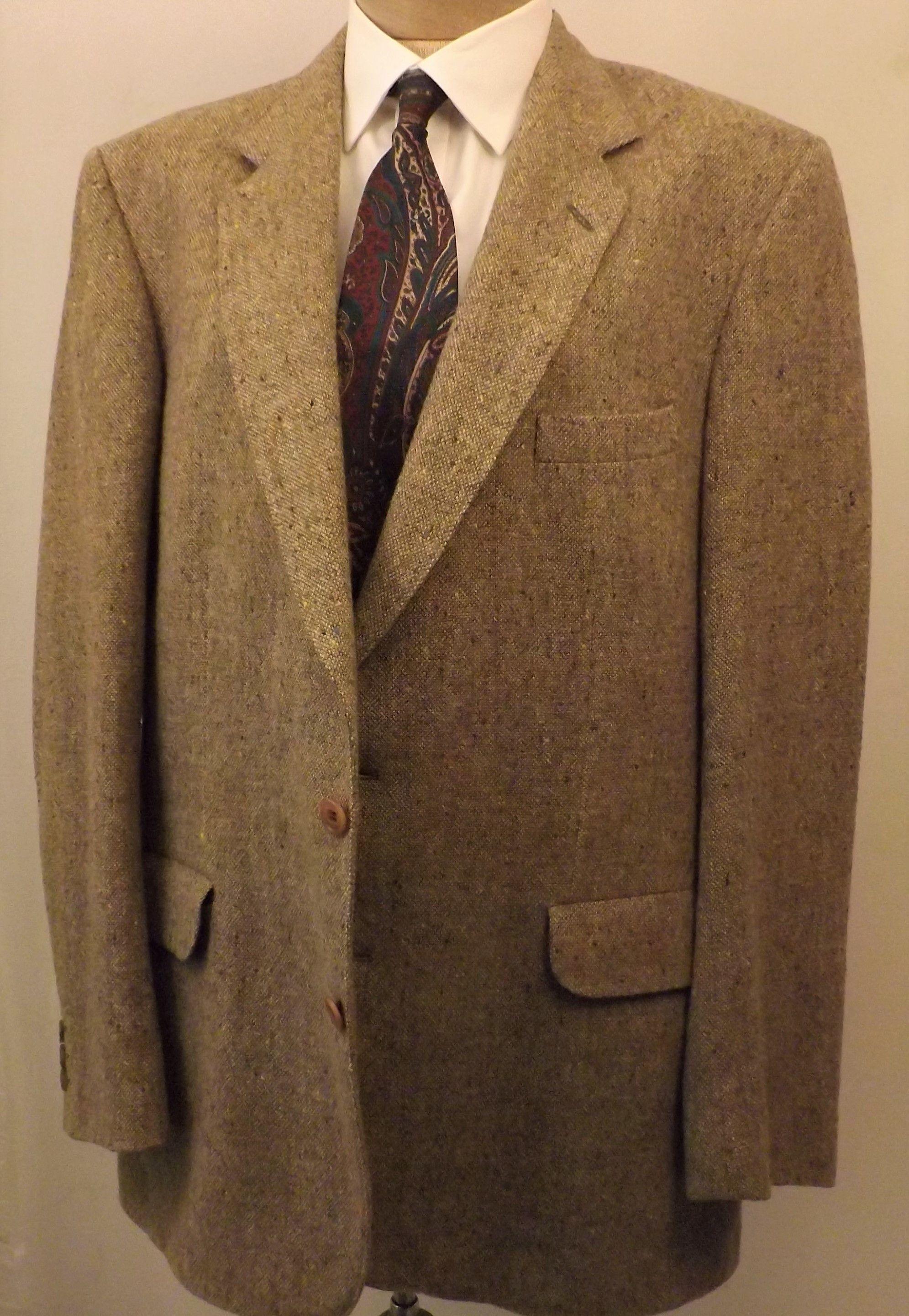 Vintage Magee Donegal Tweed Heather Brown Mens Sport Coat Size 40