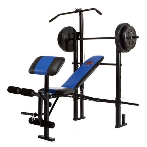 Marcy Mcb 252 Weight Bench With 120 Lb Weight Set And Lat Tower Weight Benches Weight Set Weight Bench Set