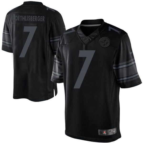 Pittsburgh Steelers Ben Roethlisberger Men's Limited Black Nike Jersey - #7 NFL Drenched