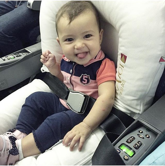 That S One Happy Baby On A Plane Andressa Verges Thank You For Making Our Trip So Comfortable Baby Travel Bed Traveling With Baby Baby Lounger