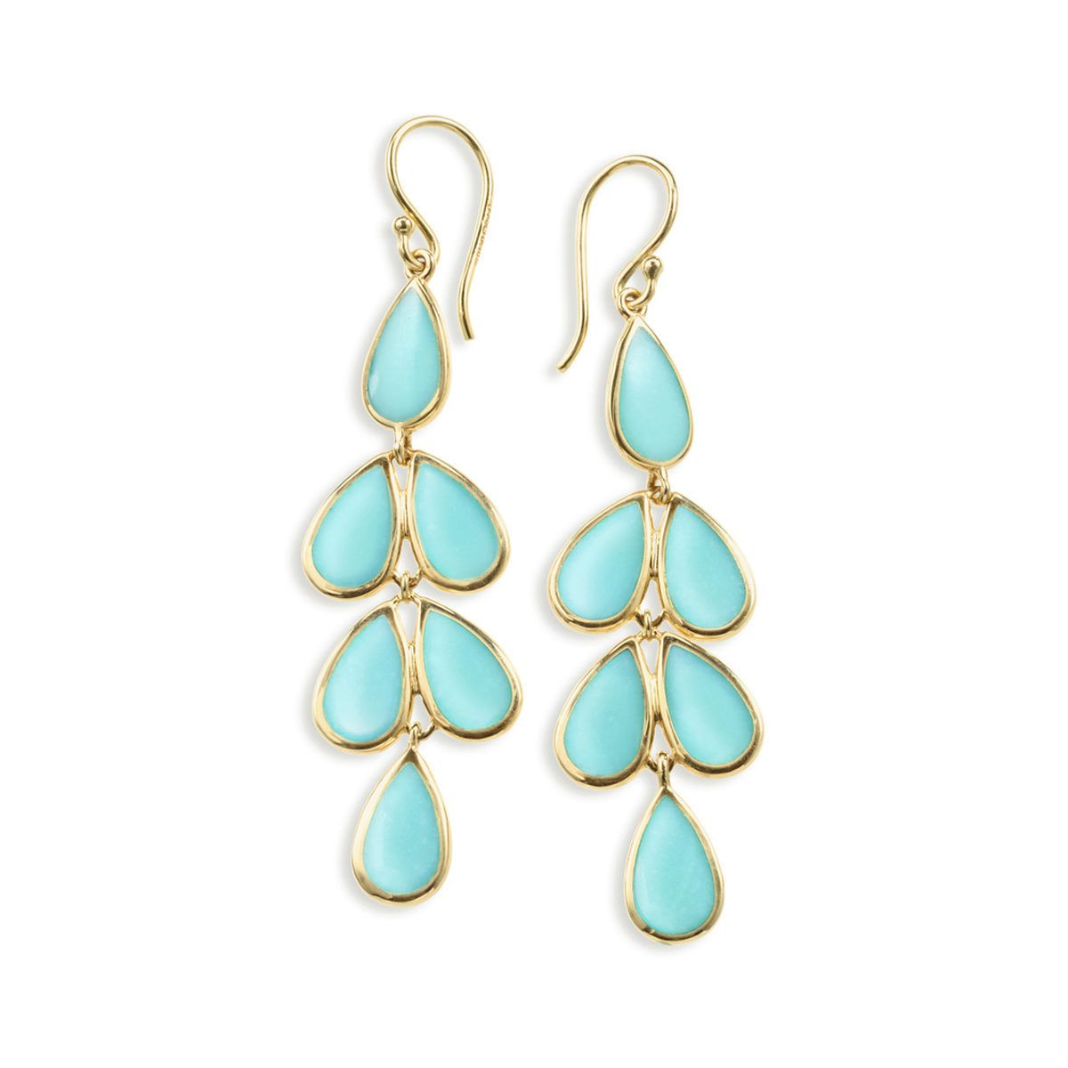 IPPOLITA 18K Polished Rock Candy® Teardrop Linear Cascade Earrings in Turquoise ~ Exclusively at Fink's - Fink's Jewelers