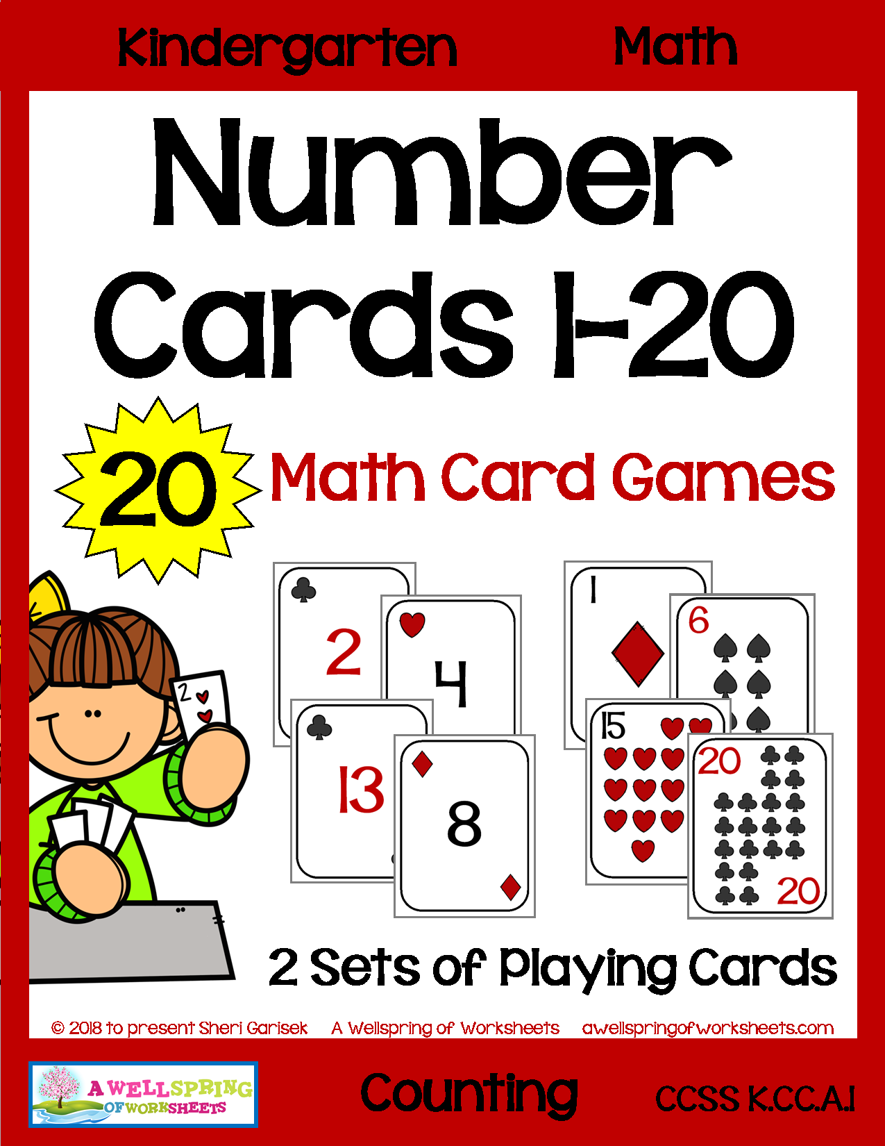 Number Cards 1 20 For Math Card Games