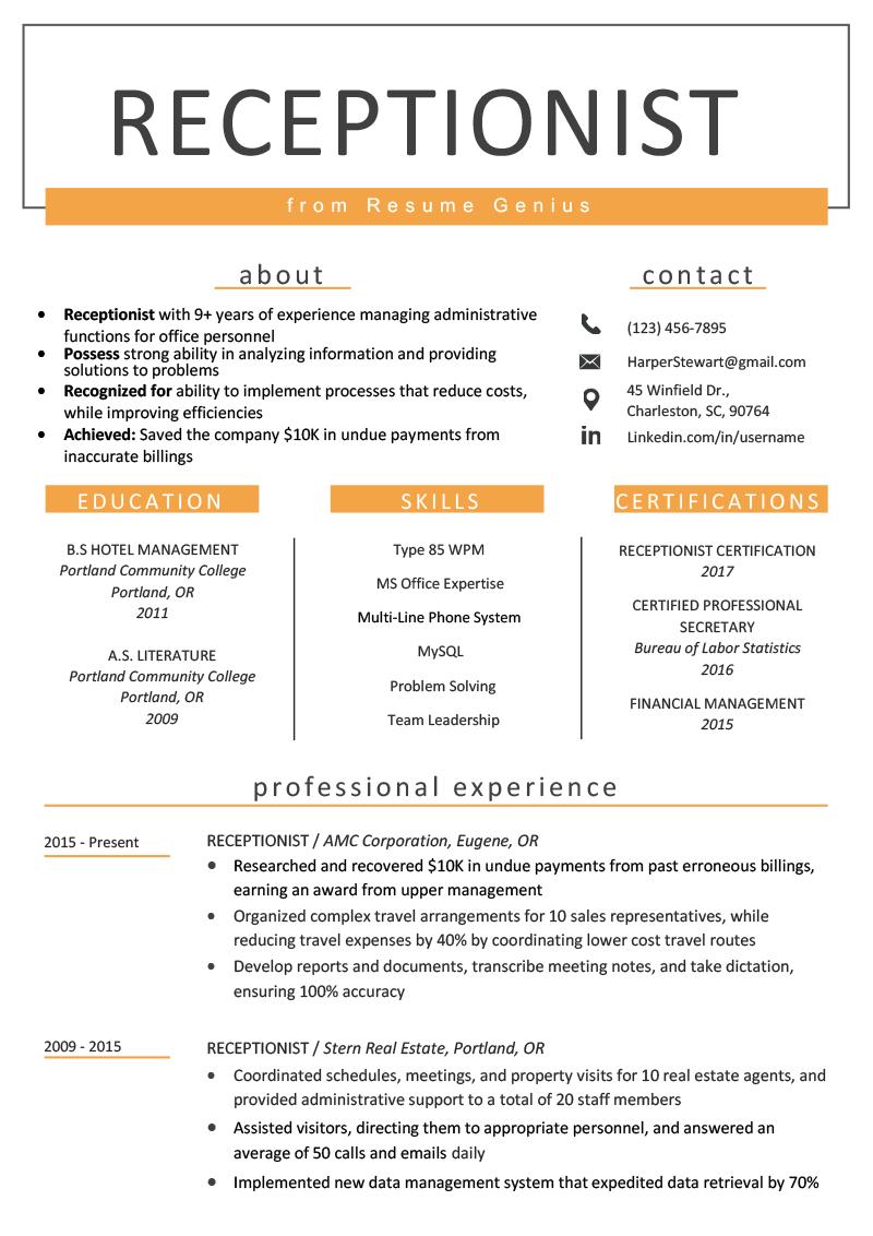 Receptionist Resume Sample Writing Guide Resume Genius Resume Skills Resume Examples Job Resume