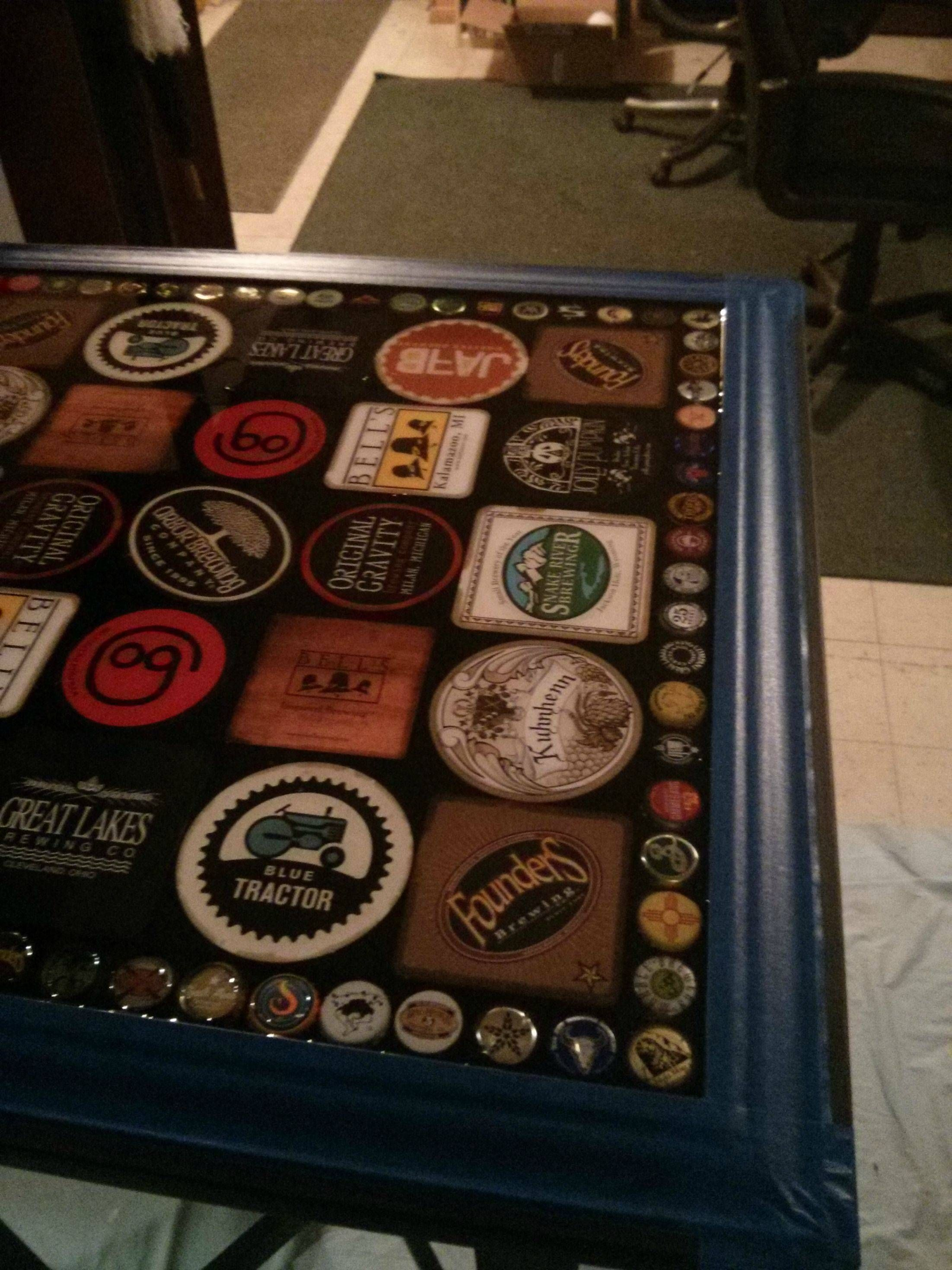 Beer bottle cap and coaster table #bottlecaps