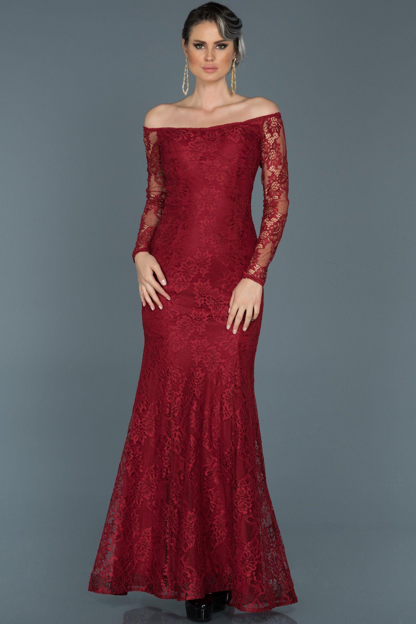 Bordo Uzun Kollu Dantelli Balik Abiye Abu011 2020 Elbise Modelleri Elbise Moda Stilleri