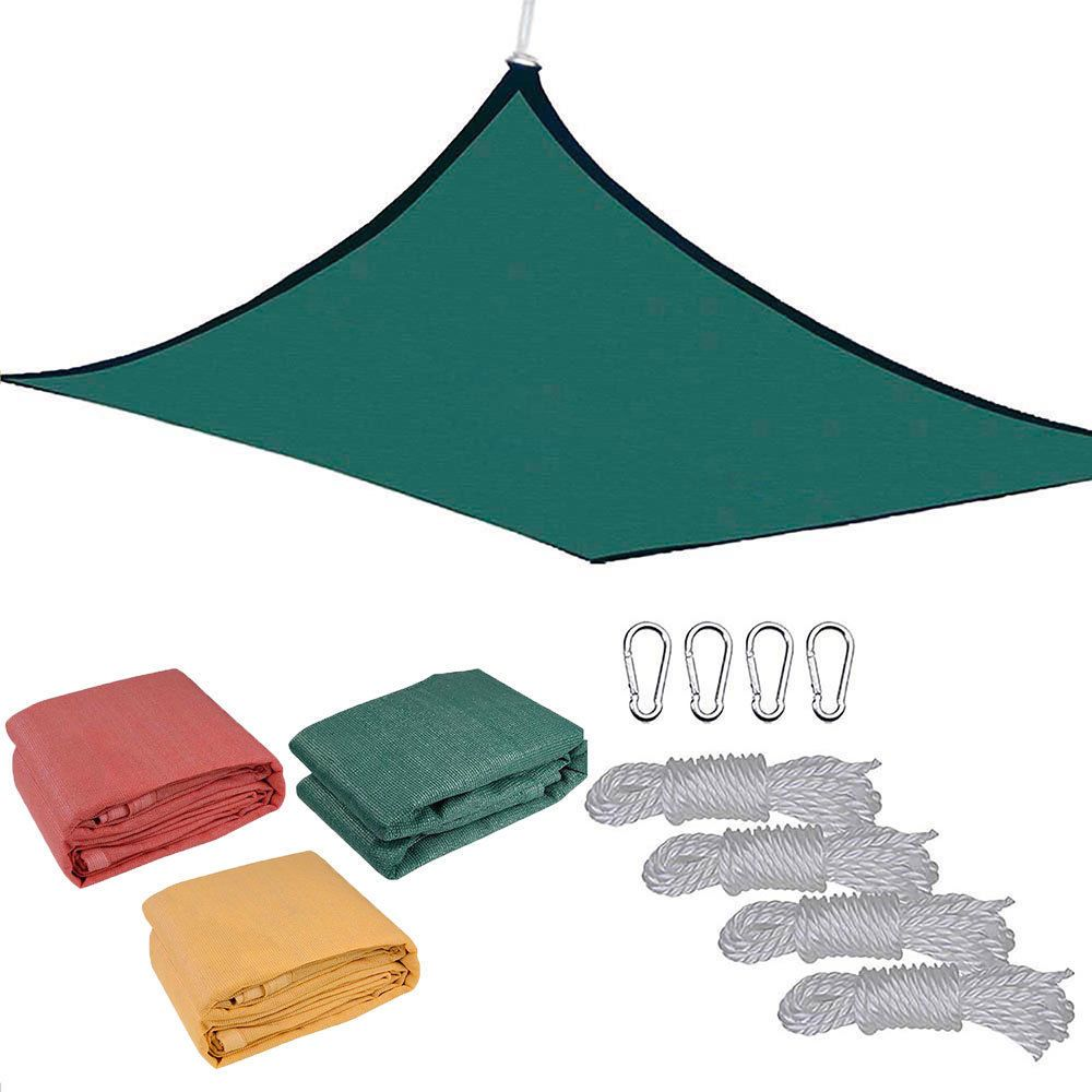 18' x18' Deluxe Square Sun Shade Sail UV Top Cover Outdoor Canopy Patio Lawn Opt is part of lawn Square Fire Pits -