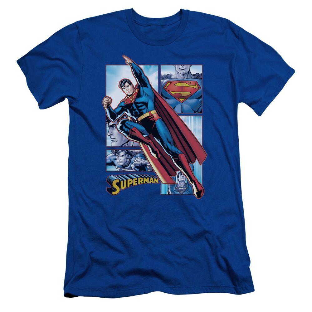 Superman Superman Panels Royal Blue Fine Jersey T-Shirt
