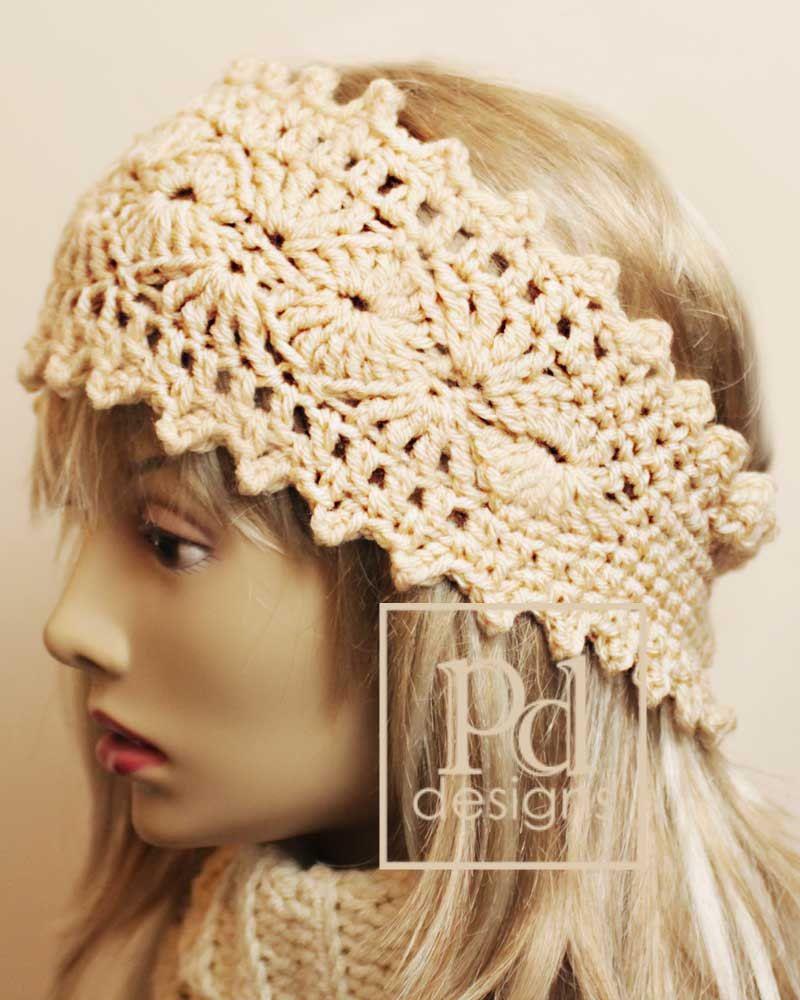 Crochet Picots and Shells Headband Ear warmer PDF Pattern ...