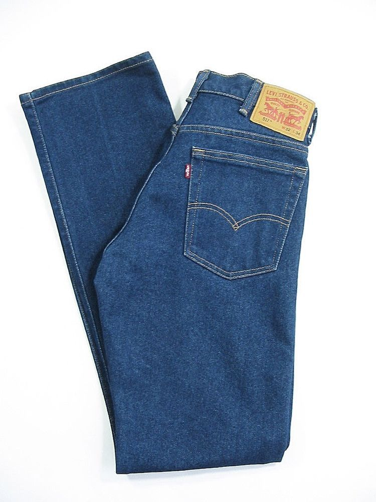 LEVI STRAUSS 517 Jeans Mens Pants Bootcut Dark Blue Denim Size 32 x 34