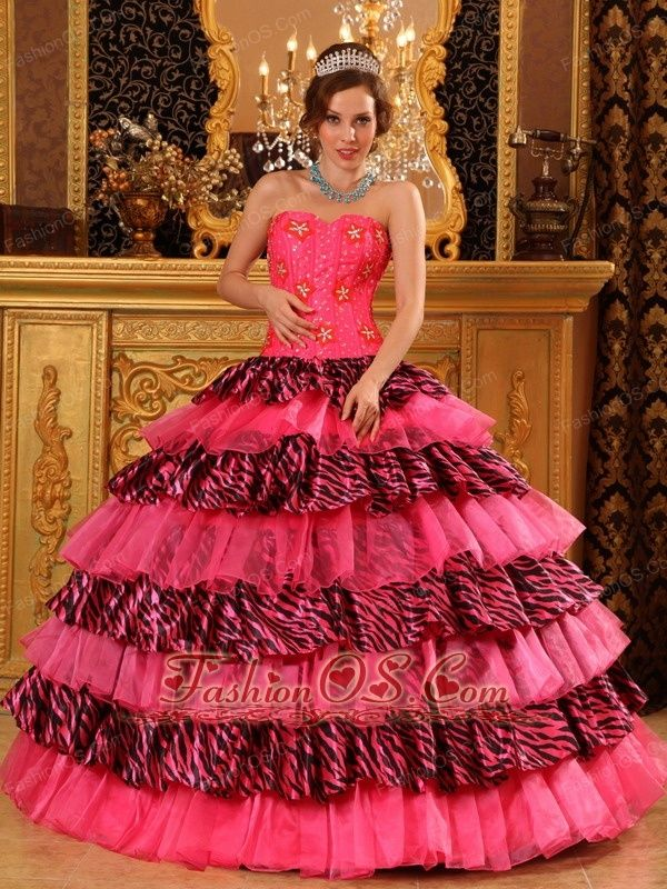 fbc618dc277 Beautiful Hot Pink Quinceanera Dress Sweetheart Organza and Zebra Beading  Ball Gown-  220.45 http