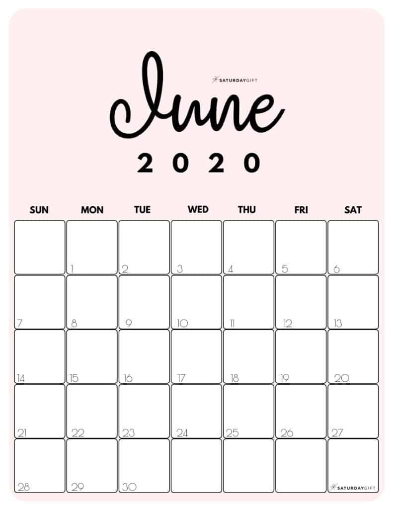 Printable 2020 Calendar By Month In 3 Cute Colors Saturdaygift In 2020 Calendar Printables June Calendar Printable Calendar Design