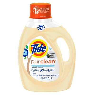 Tide Purclean Plant Based Unscented Liquid Laundry Detergent 75 Fl Oz Liquid Laundry Detergent Laundry Detergent Natural Detergent