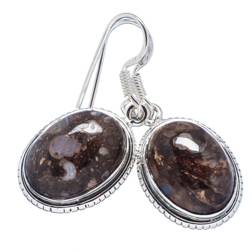 "/""Turritella Fossil Agate/"" /& 925 Sterling Silver Plated Pendant Gemstone Jewelry"