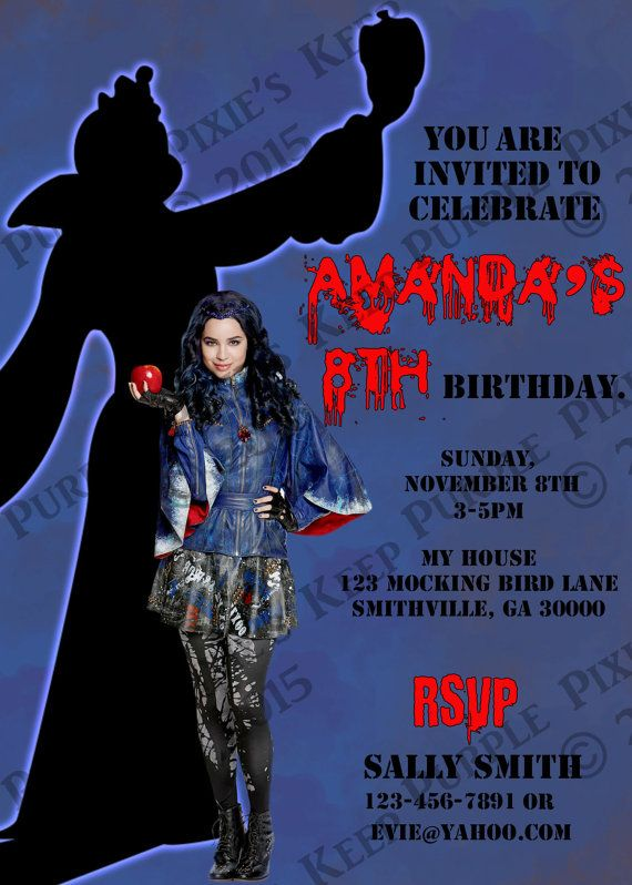 Personalized Disney Descendants Evie Birthday Invitations by – Personalized Disney Birthday Invitations