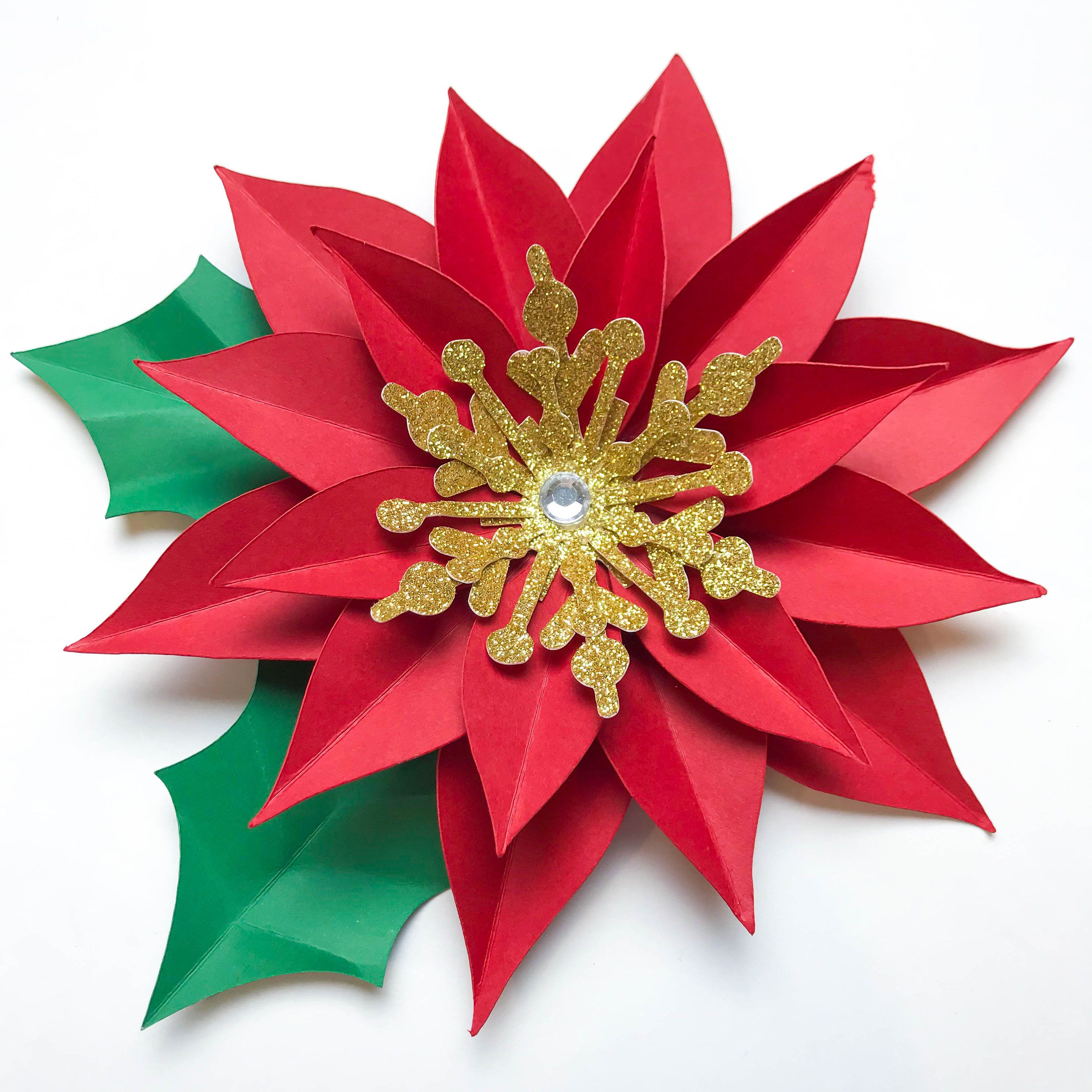SVG DXF Christmas Poinsettia Paper Flowers Template DIY