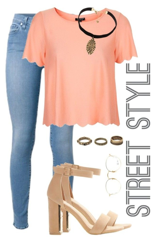 """STREET STYLE."" by ligiamiirandaa ❤ liked on Polyvore featuring Topshop, Vanessa Mooney, Forever 21 and Ray-Ban"