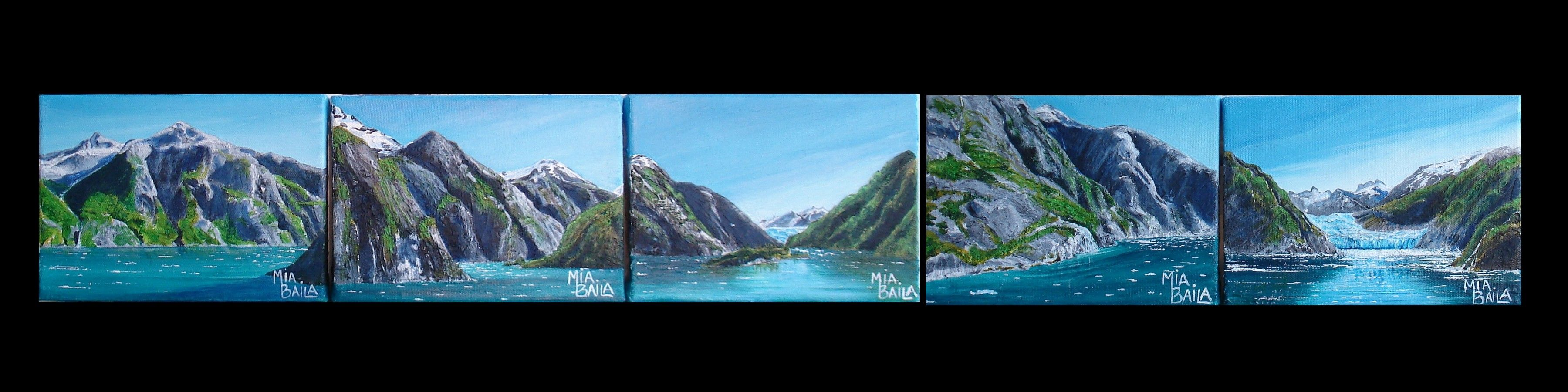 A series of paintings that show the trip down Lynn Canal in Tracy Arm, to South Sawyer Glacier in Alaska