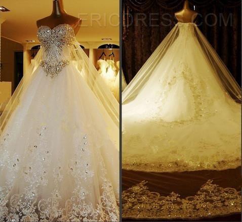 aad06ba5d234 Luxurious A-Line Sweetheart Crystal/Appliques Chapel Train Wedding Dress  Unique Wedding Dresses- ericdress.com 10793349