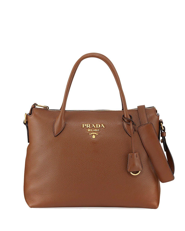 539d87f2bb1a Prada Women's Brown Vitello Phenix Leather Handbag 1BA063 #Prada  #BeverlyHills #QueenBee #QueenBeeofBeverlyHills #Fashion #Designer #Handbags  #SaintLaurent ...