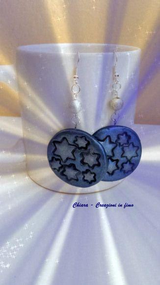 orecchini in #fimo stelle blu 5€ su https://www.facebook.com/ChiaraCreazioniInFimo/