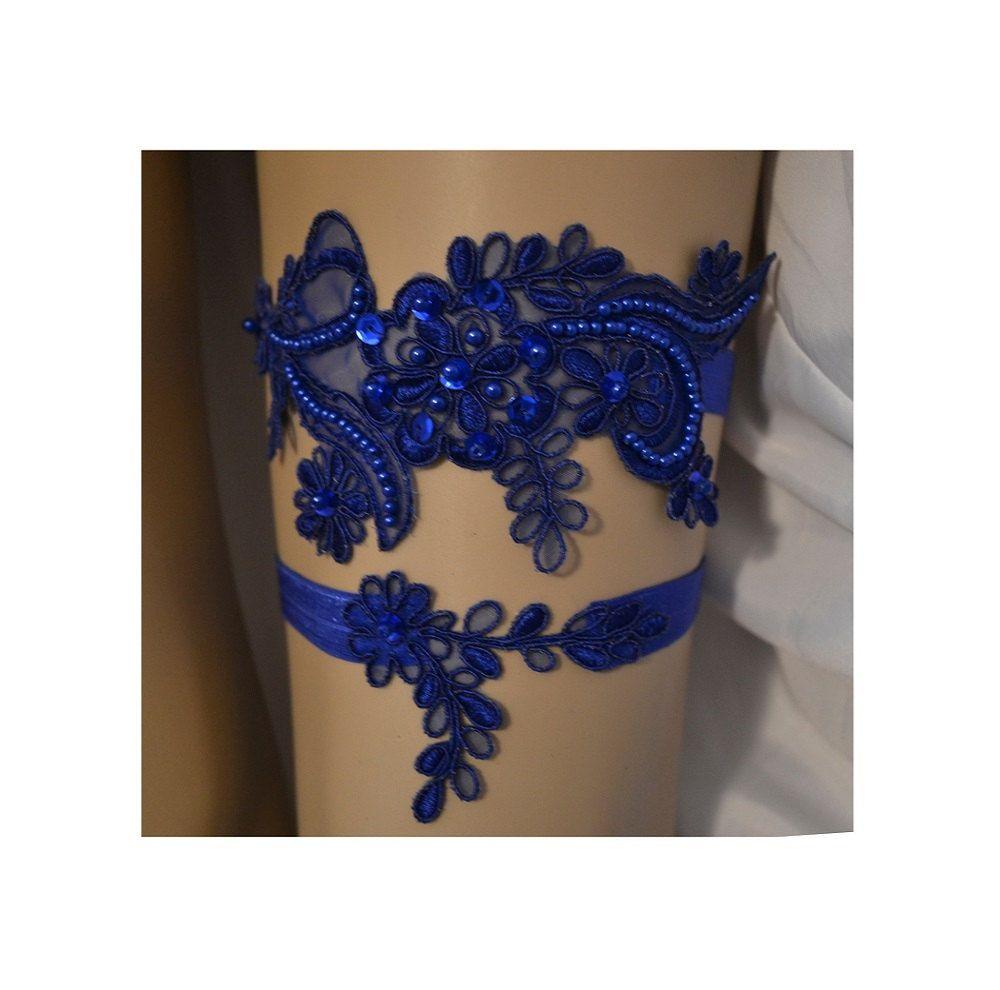 Wedding Garter, Royal Blue Lace Wedding Garter Set, Dark Royal Blue ...