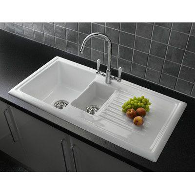 Reginox 101cm X 52.5cm Rectangular Kitchen Sink With Elbe Tap In White