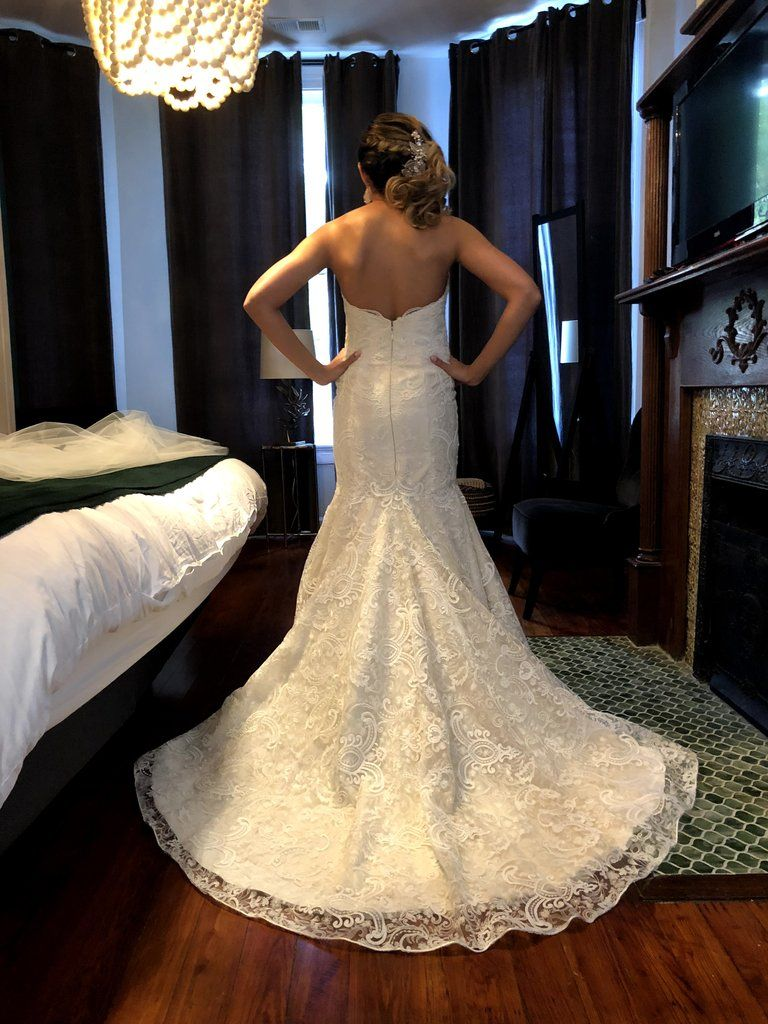 0721a4a6e48 Modern Trousseau  Sailor  size 12 used wedding dress back view on bride