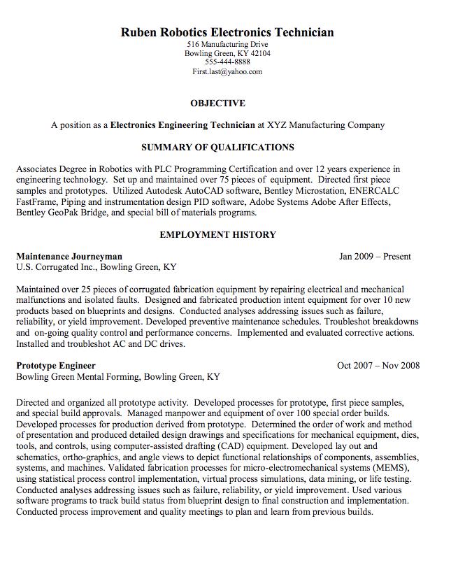 Robotics Electronics Technician Sample Resume Examples Resume Cv Resume Cv Resume Sample Resume