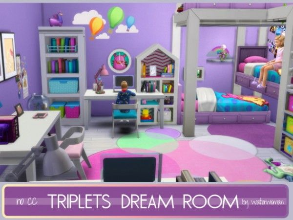 Akisima Sims Blog Triplets Dream Room No Cc Sims 4 Bedroom Sims Sims 4 House Design