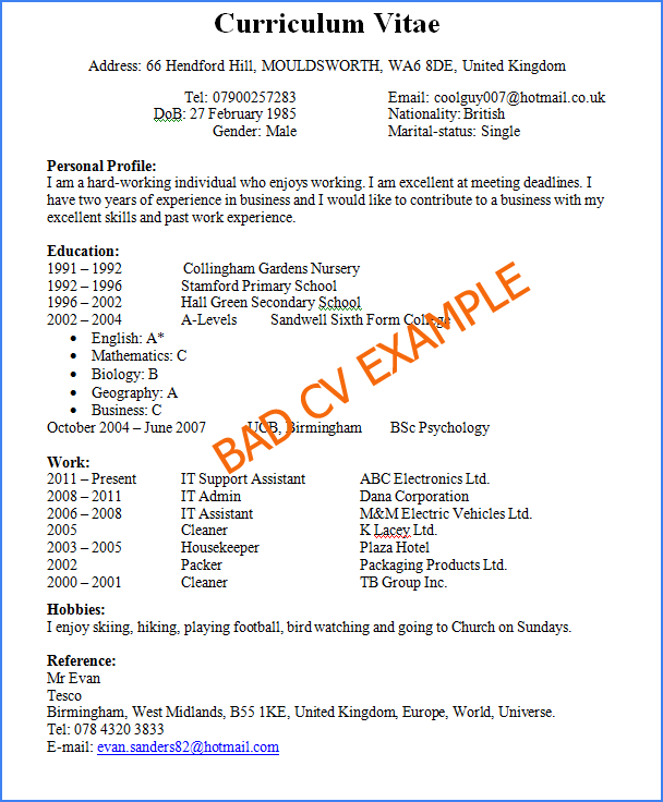 Free Download Bad Resume Examples