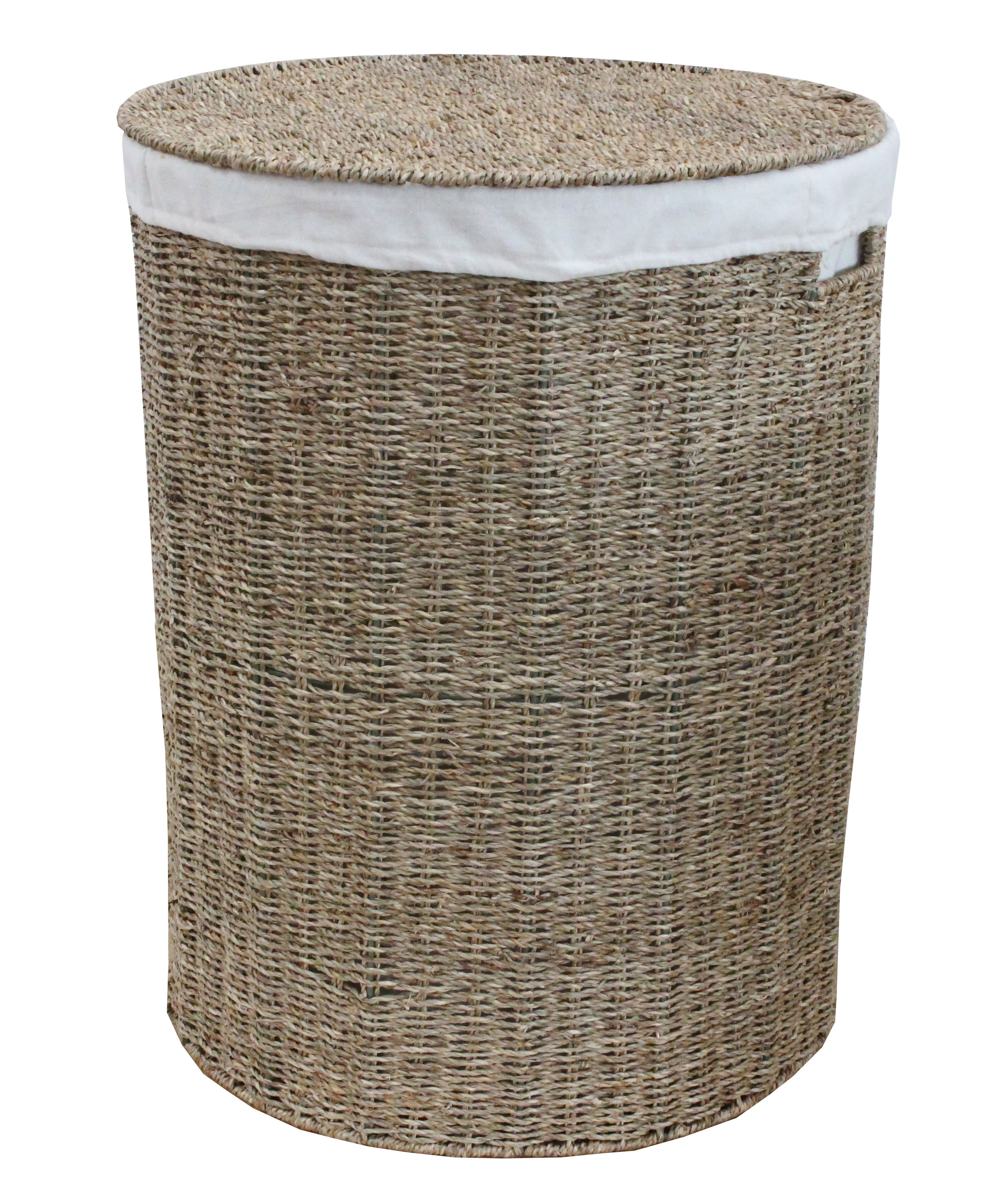 Seagrass Round Laundry Basket Lined Laundry Basket Washing Bins