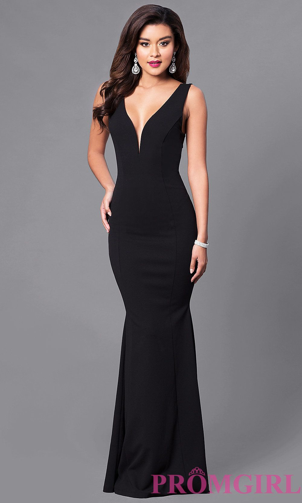 Image of long open-back prom dress with low v-neck. Front Image ...