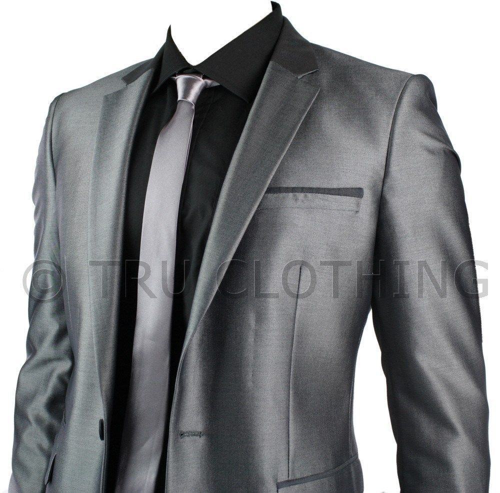 Details about Mens Slim Fit Shiny Silver Grey Suit Blazer Trouser ...