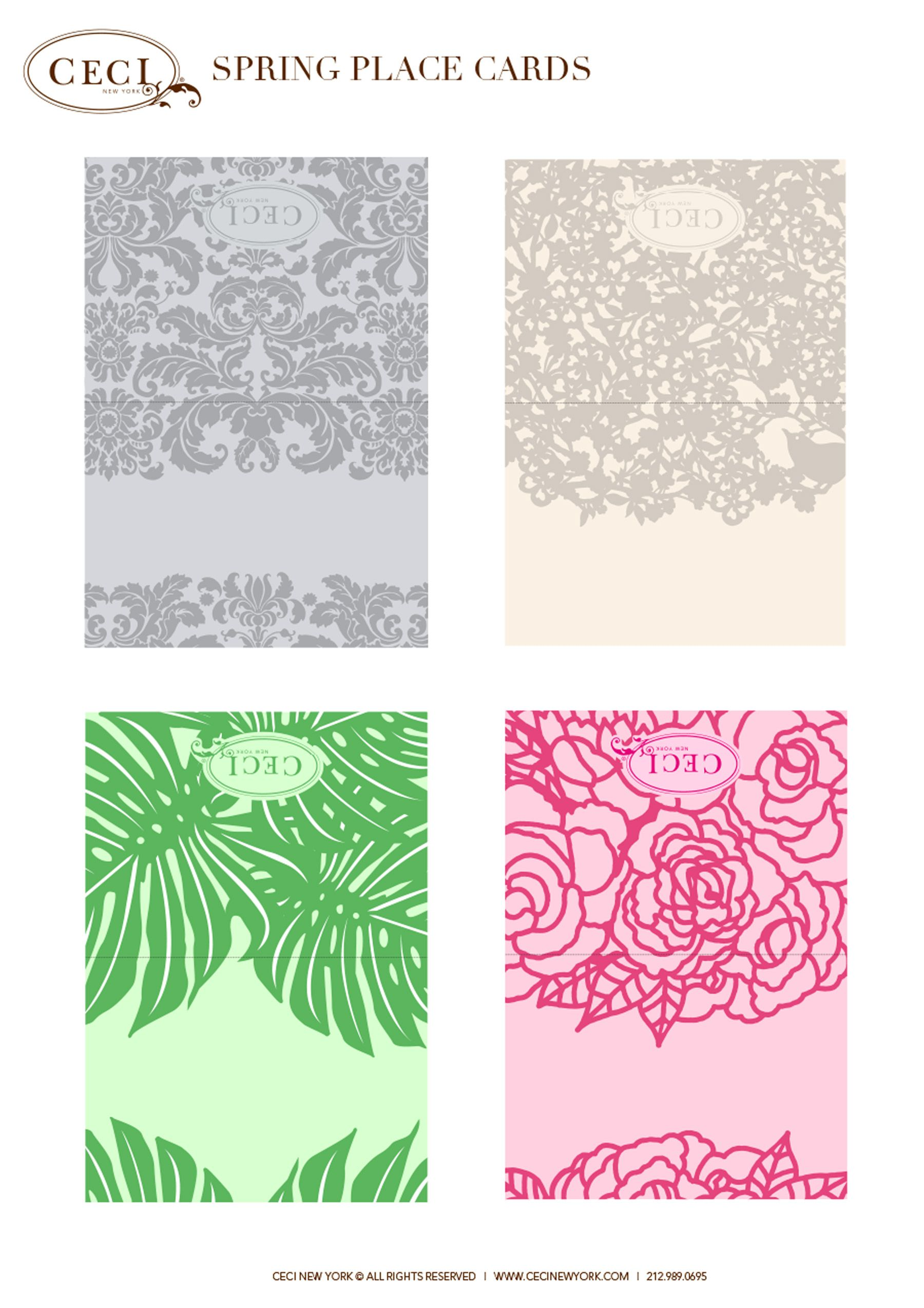CeciStyle Make This Ceci New York Spring Place Cards Template - Reserved place card template