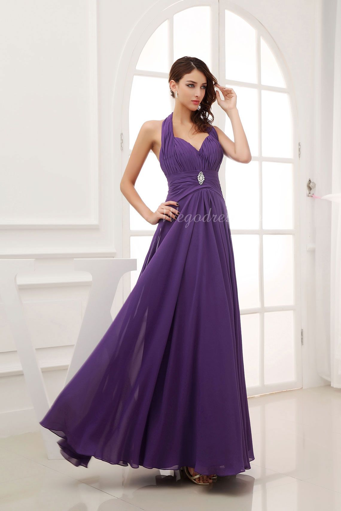 Long Empire Brooch Backless Halter Ruched Sleeveless Prom Dress picture 5