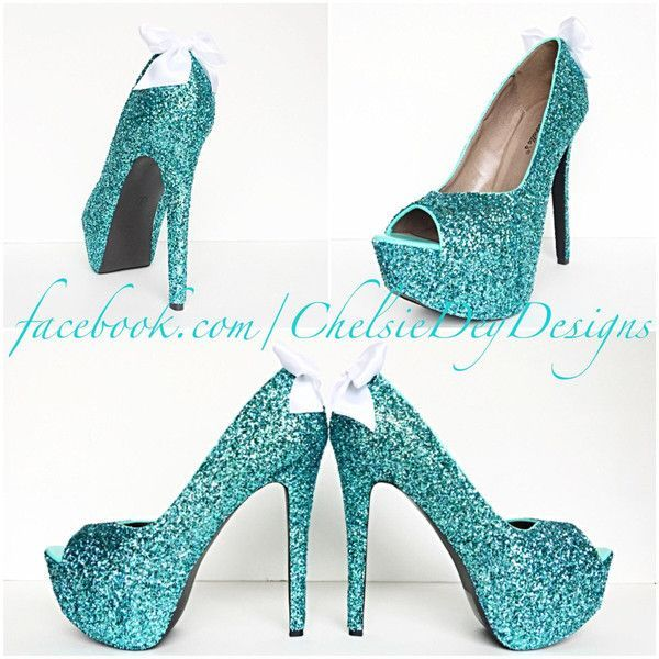 Glitter High Heels Robins Egg Blue Open Peep Toe Pumps Platform Shoes... (