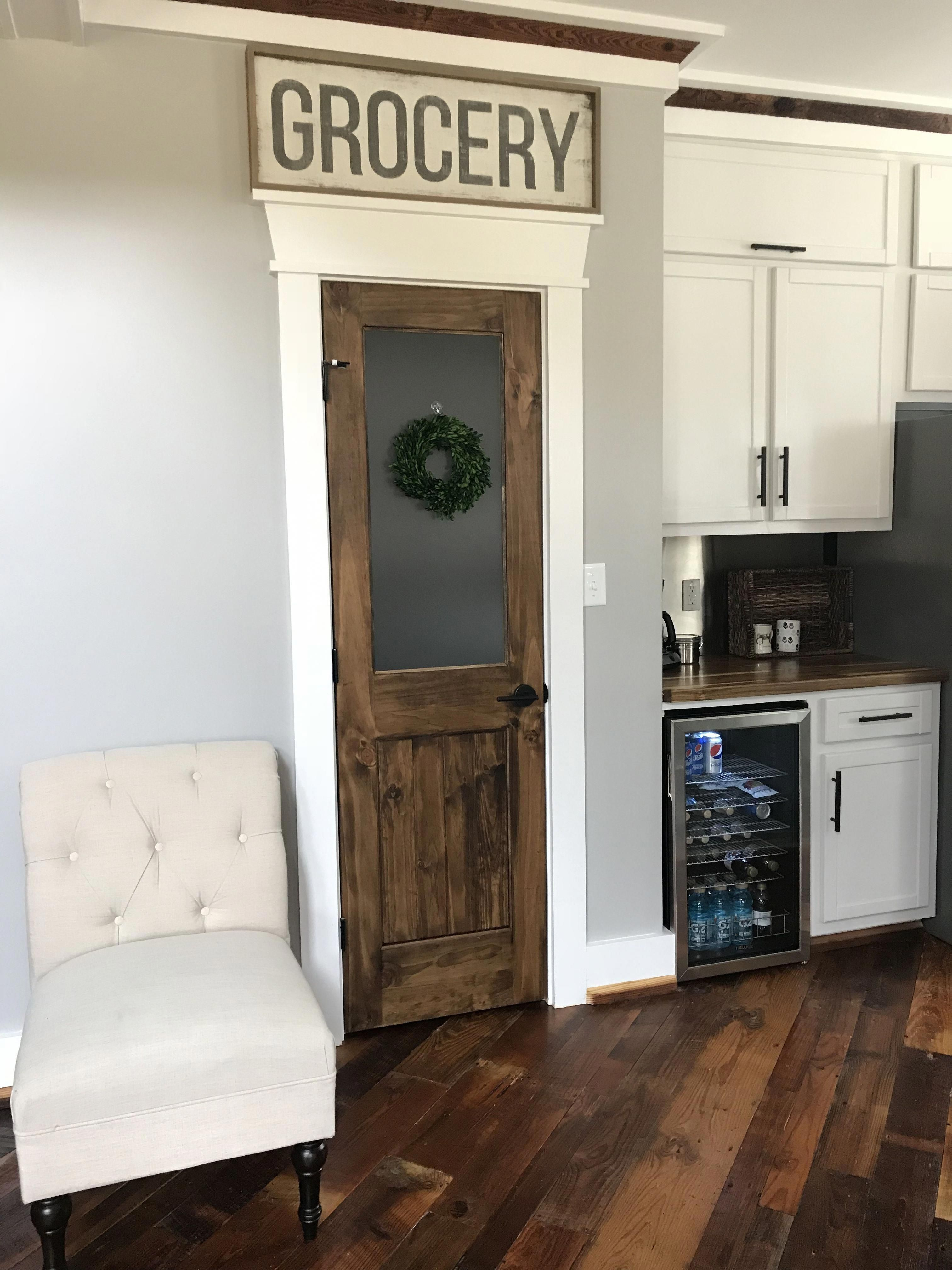 F A R M H O U S E Rustic Pantry Door With Frosted Glass Pane Reclaimed Wood Flooring And Acacia Count Kitchen Pantry Doors Rustic Pantry Door Rustic Pantry