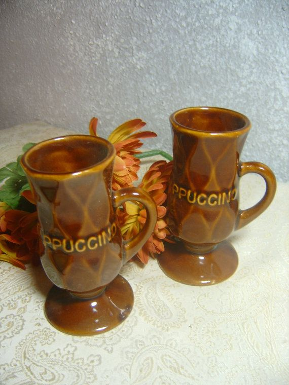 Cappuccino Mugs USA Chocolate Brown Mid Century by MyRetroCharm, $8.95