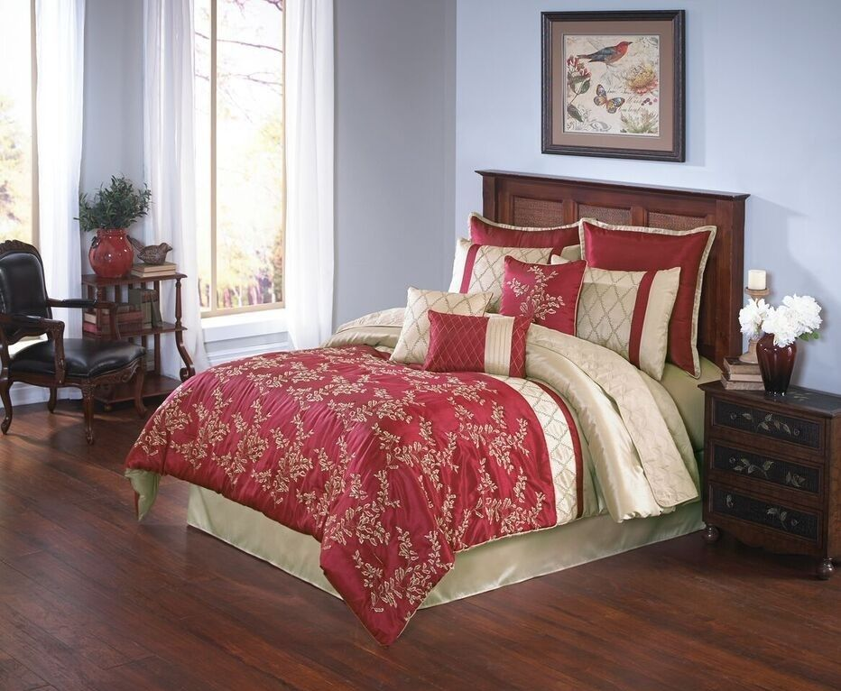 Merrill In Red And Gold Comforter Sets By Hallmart Collectibles