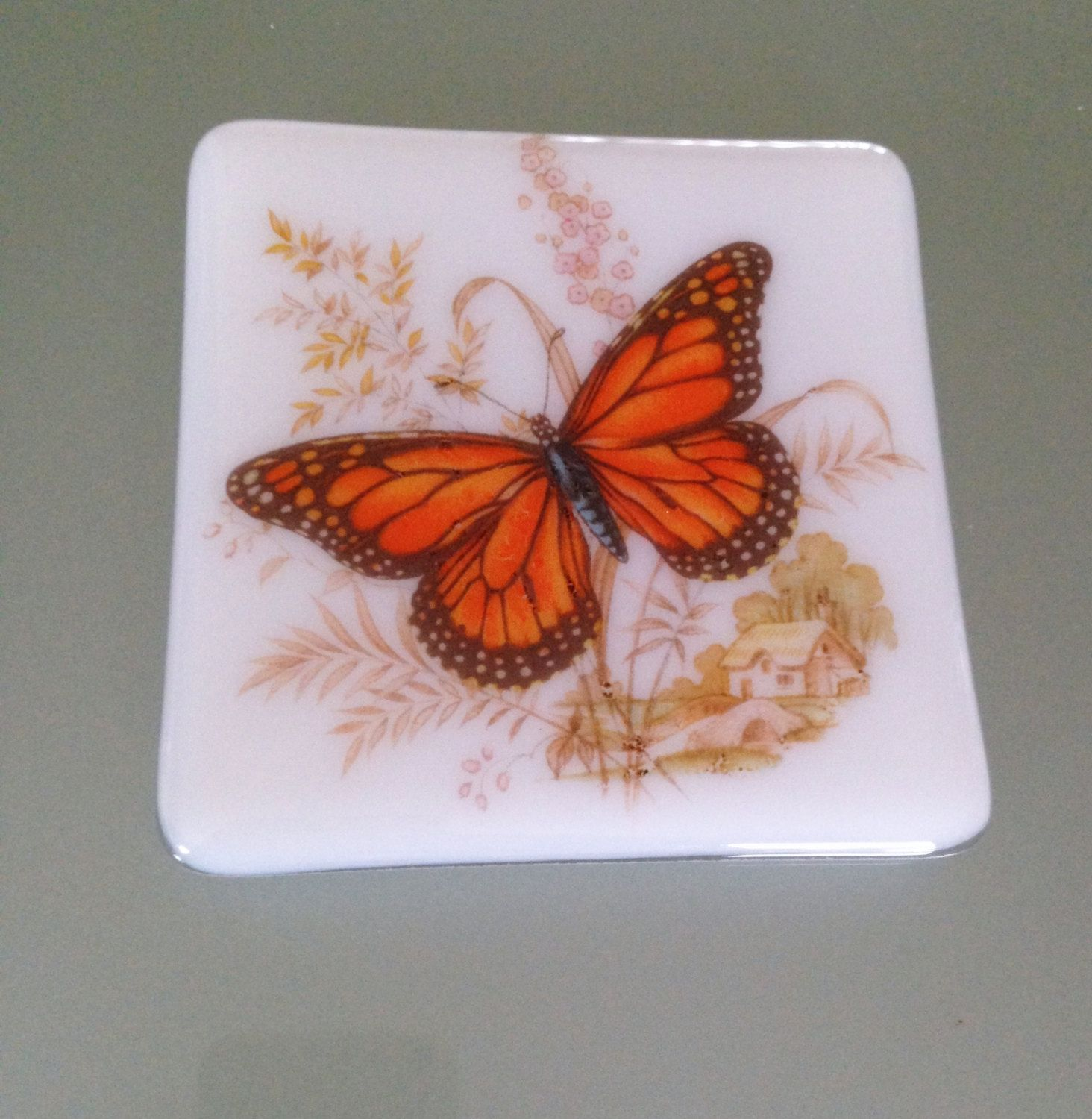 Wedding anniversary decorations at home  Butterfly Gift Glass Coaster Set Anniversary Gift for Her Unique
