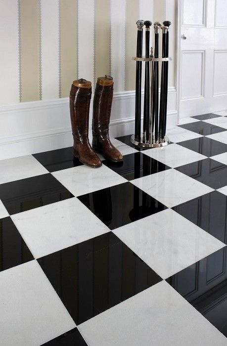 Cocoscollections Black And White Tile Floor Black And White Marble Tile Black And White Tiles White Tiles Black Tiles
