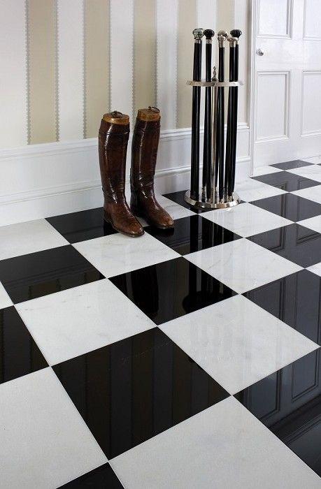 black and white marble tiles black