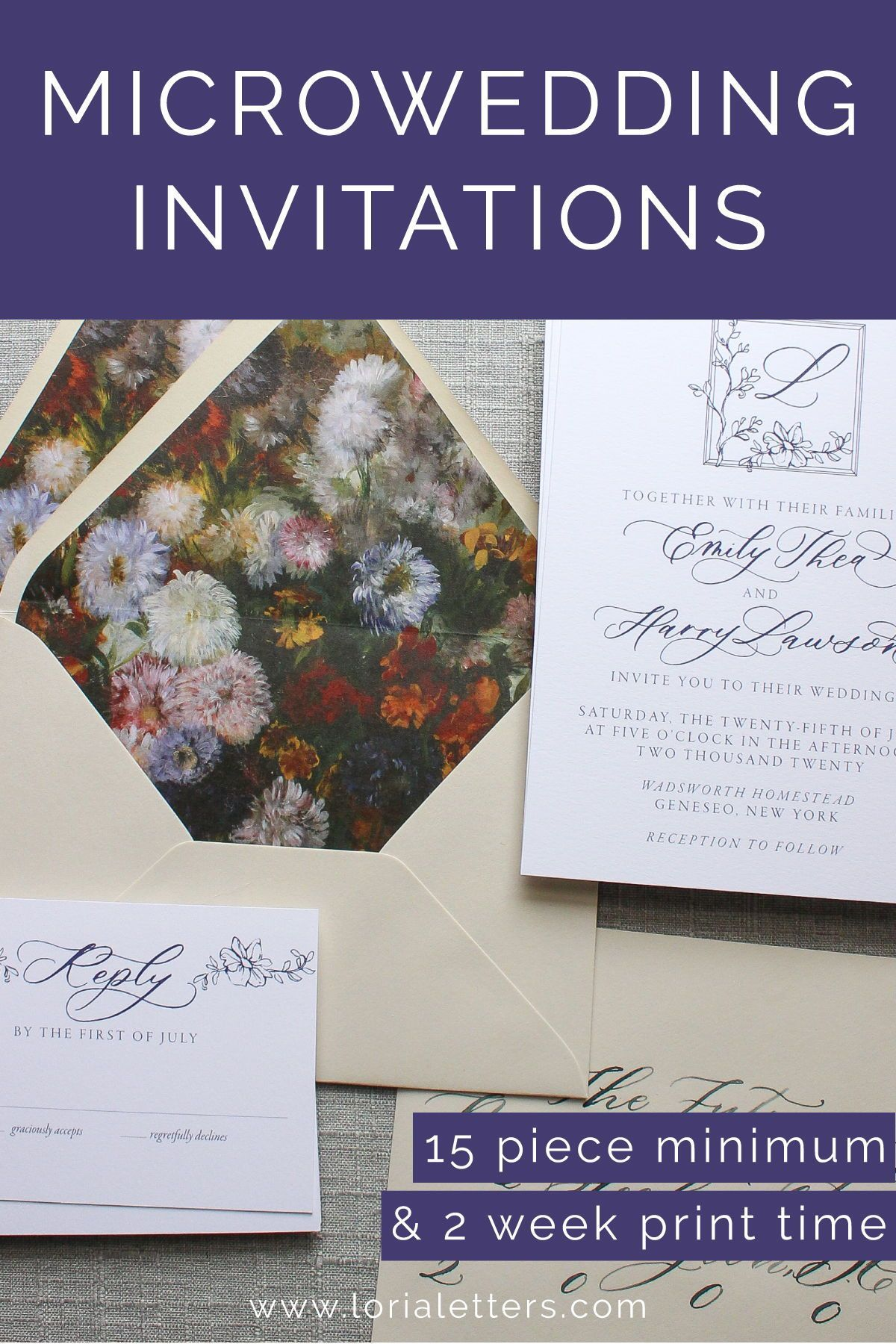 vintage calligraphy invitation for microwedding in 2020