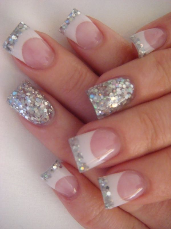 White & Glitter French tip manicure with a glitzy accent nail ...
