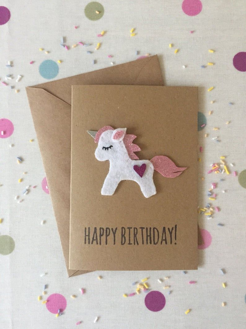 Unicorn Birthday Card Felt Unicorn Birthday Card Felted Card